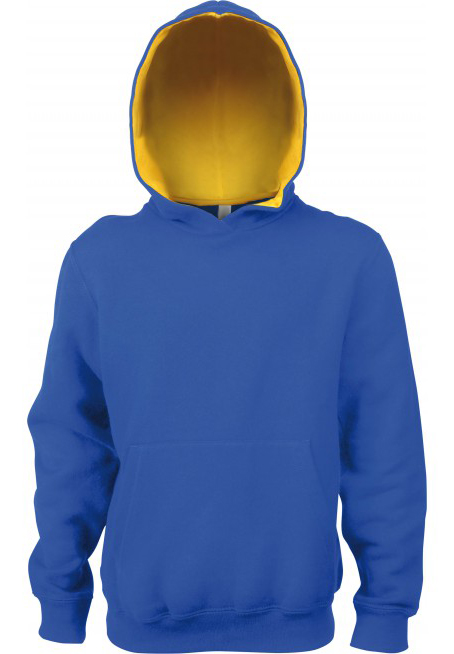 KlieeVeerKidsTweekleurenHoodedSweatersLIGHTROYALBLUE-YELLOW