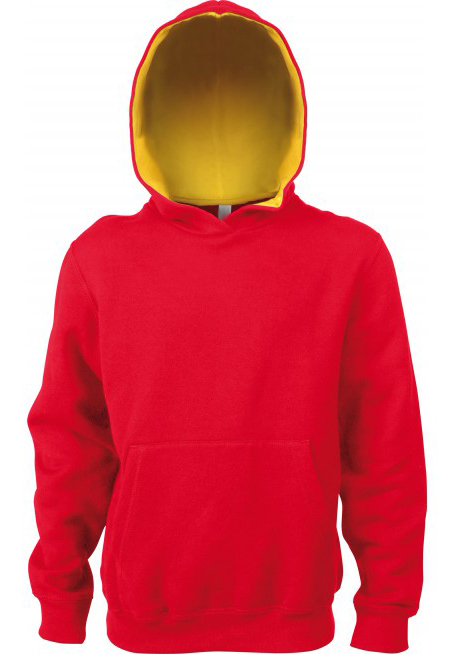 KlieeVeerKidsTweekleurenHoodedSweatersRED-YELLOW