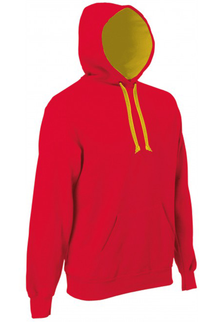 KlieeVeerTweeKleurenHoodedSweatersRED-YELLOW